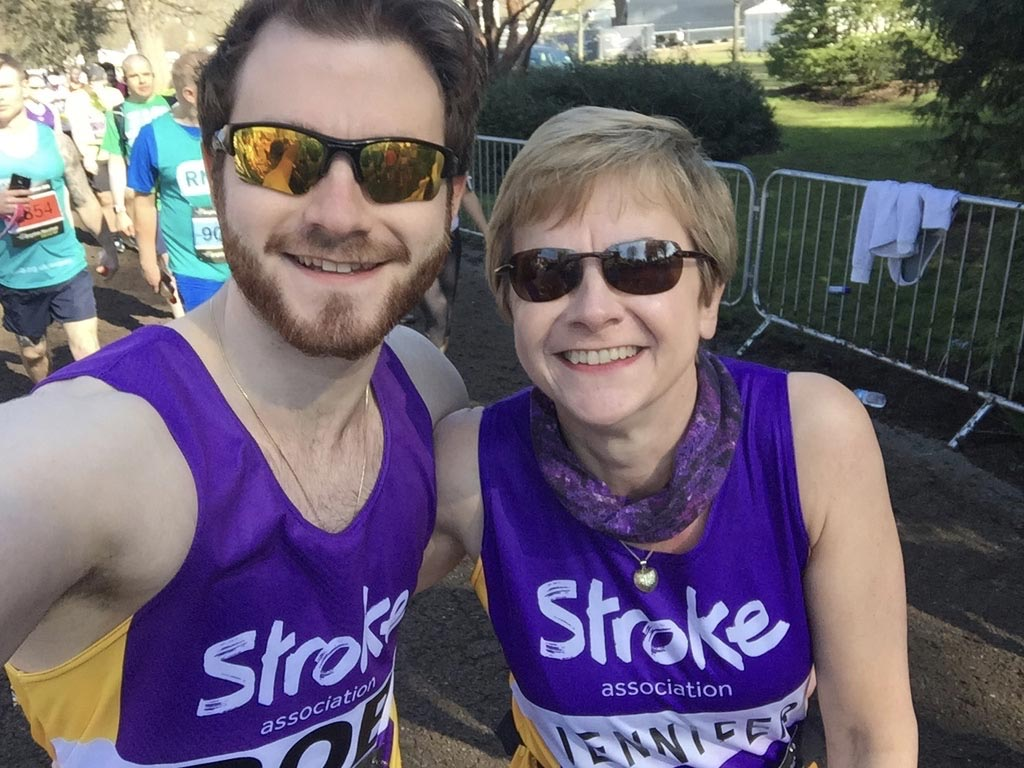A selfie of my mum and me getting set to take on the Brighton Marathon